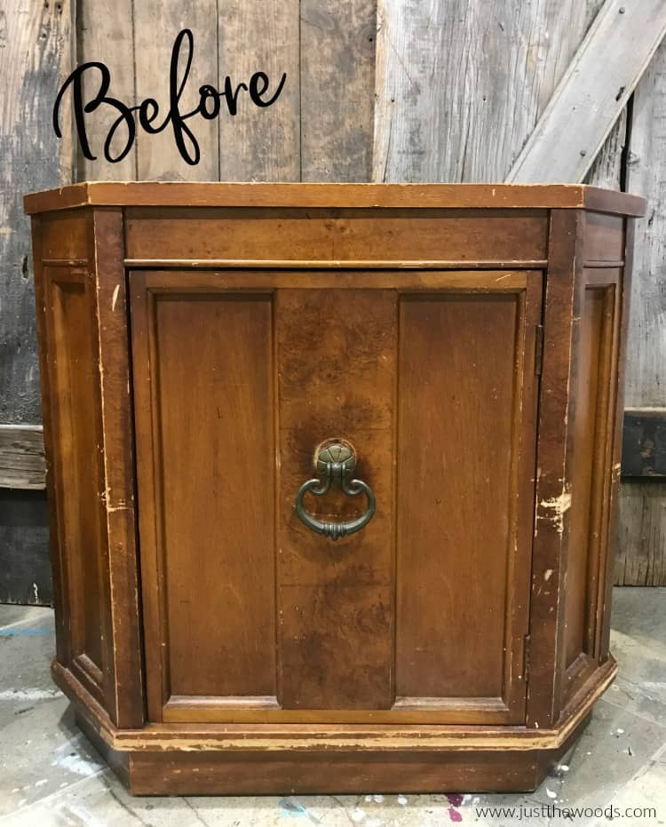 brown wooden cabinet, vintage cabinet before paint,