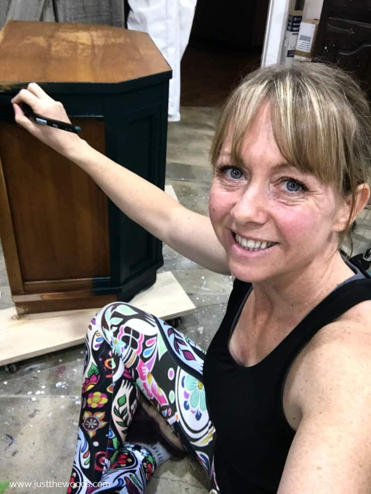 girl painting furniture, diy blogger shares how to paint furniture