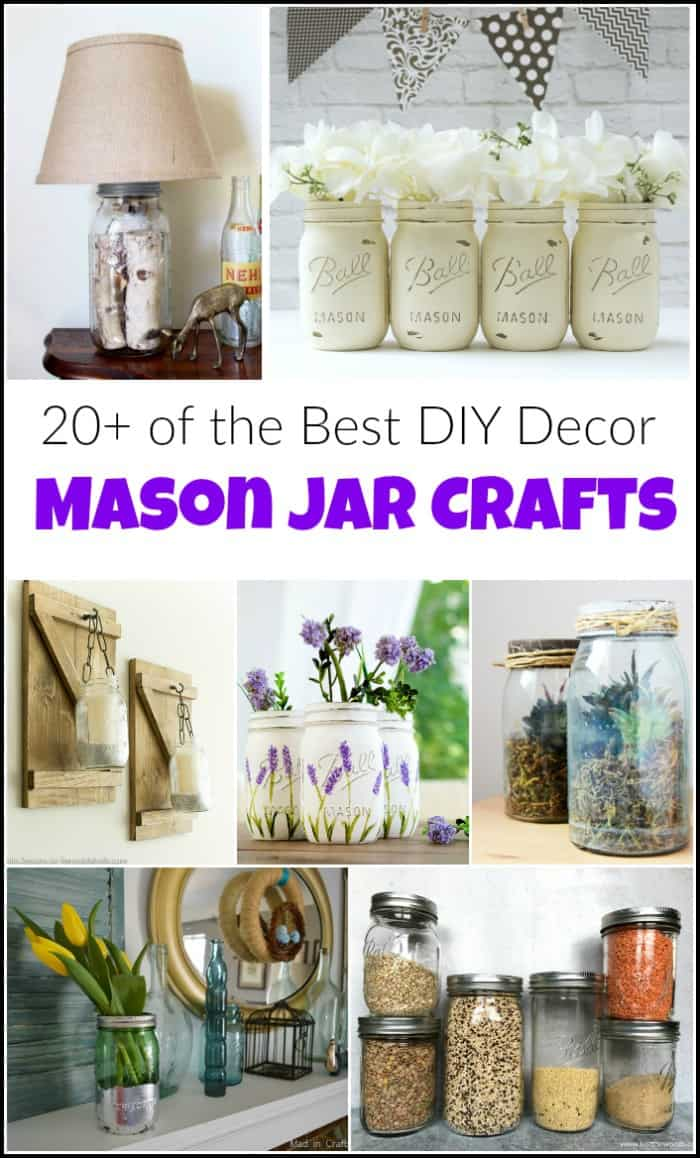 collage of mason jar craft ideas and projects
