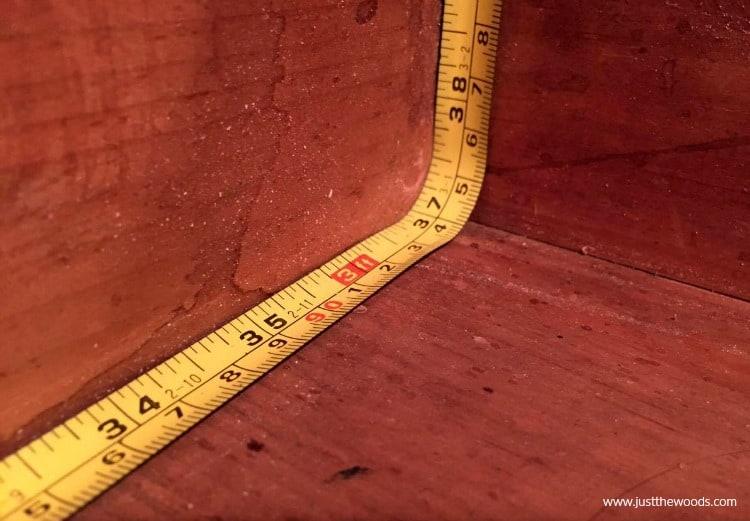measure inside drawer, measuring tape