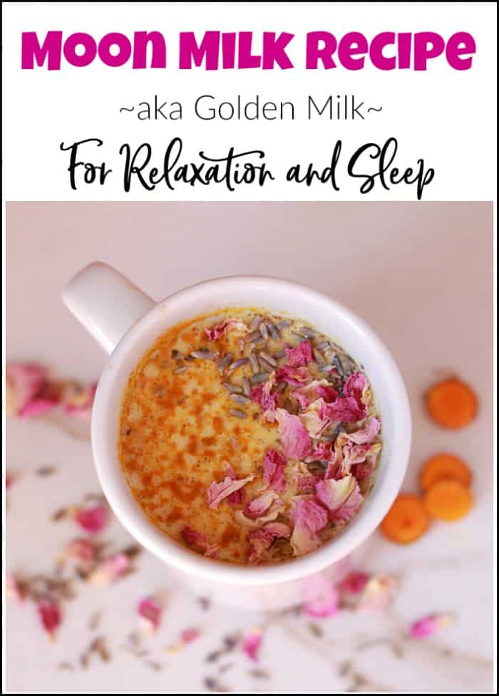 moon milk recipe, relaxation tea in white mug