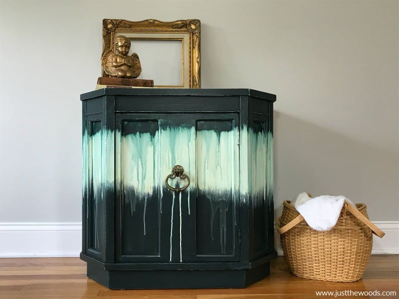 green painted furniture with dripping paint effect, boho style painted furniture