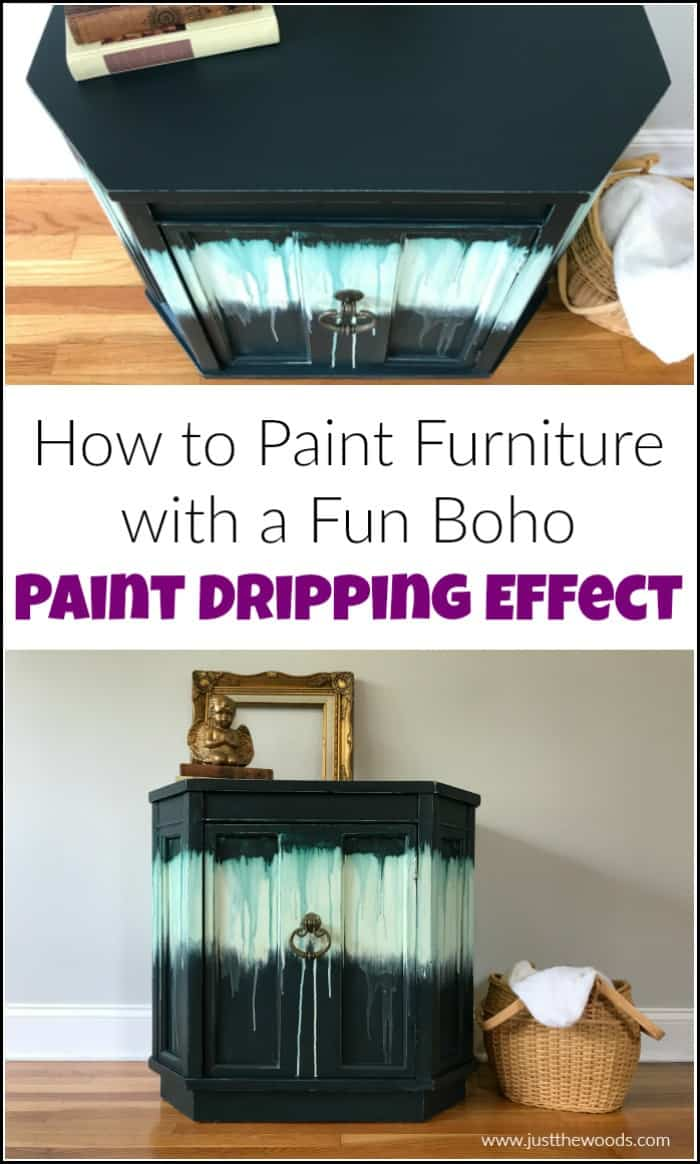 how to paint furniture dripping paint technique