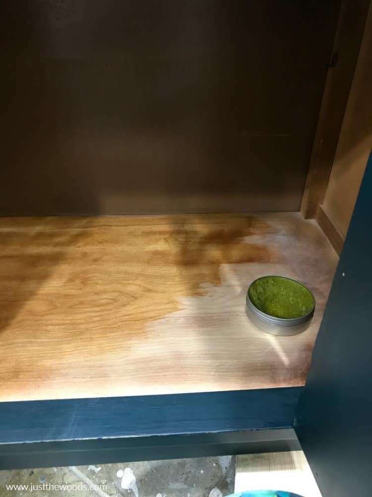 restore the inside of wooden cabinet with wise owl paint salve