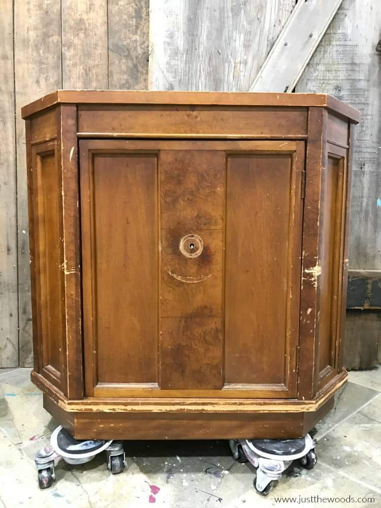 brown cabinet with hardware removed, wooden cabinet