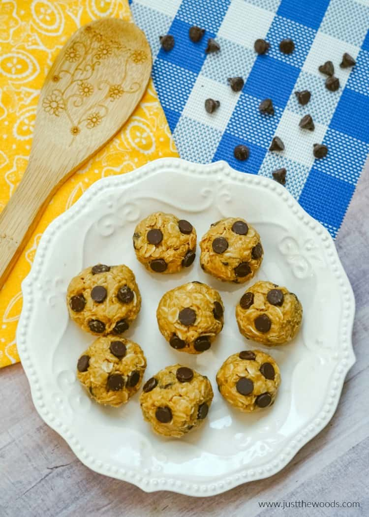 oatmeal protein balls made with peanut butter and chocolate chips