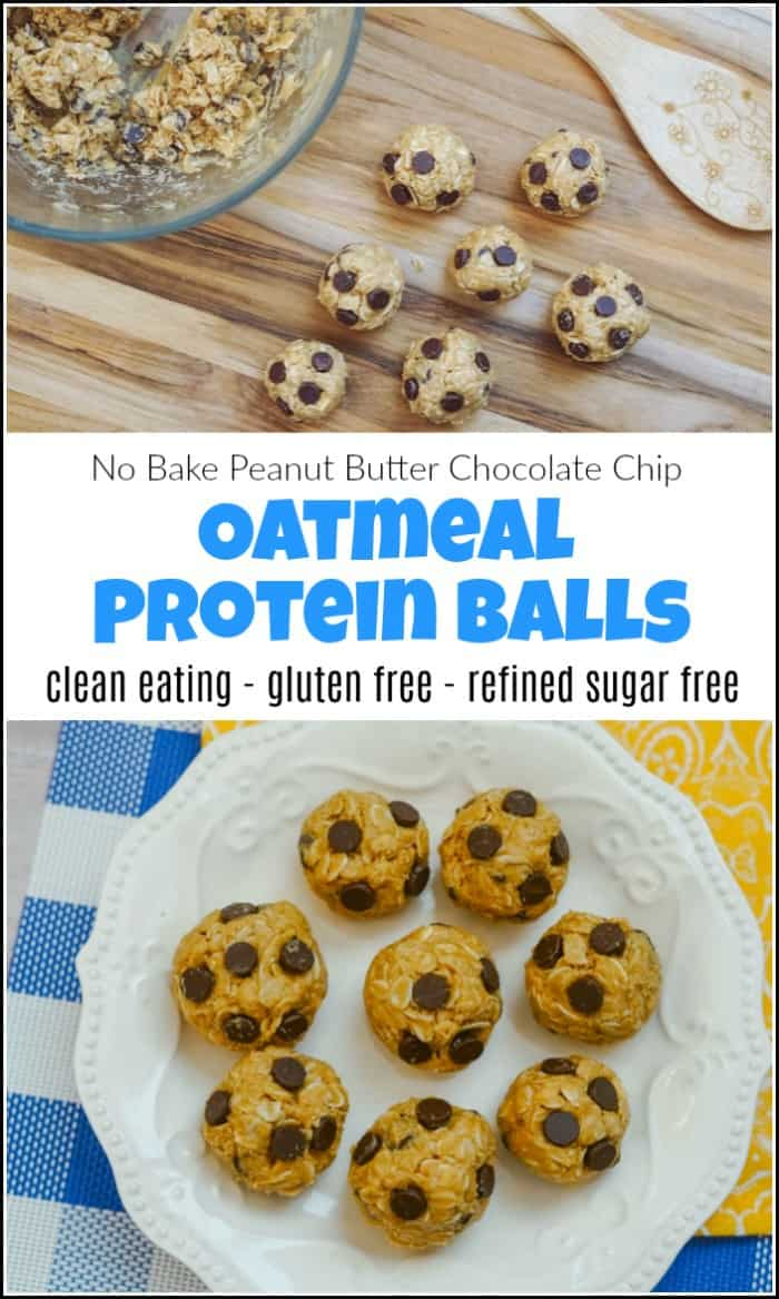 no bake oatmeal protein balls recipe, easy homemade protein bites, peanut butter choc chip oat balls
