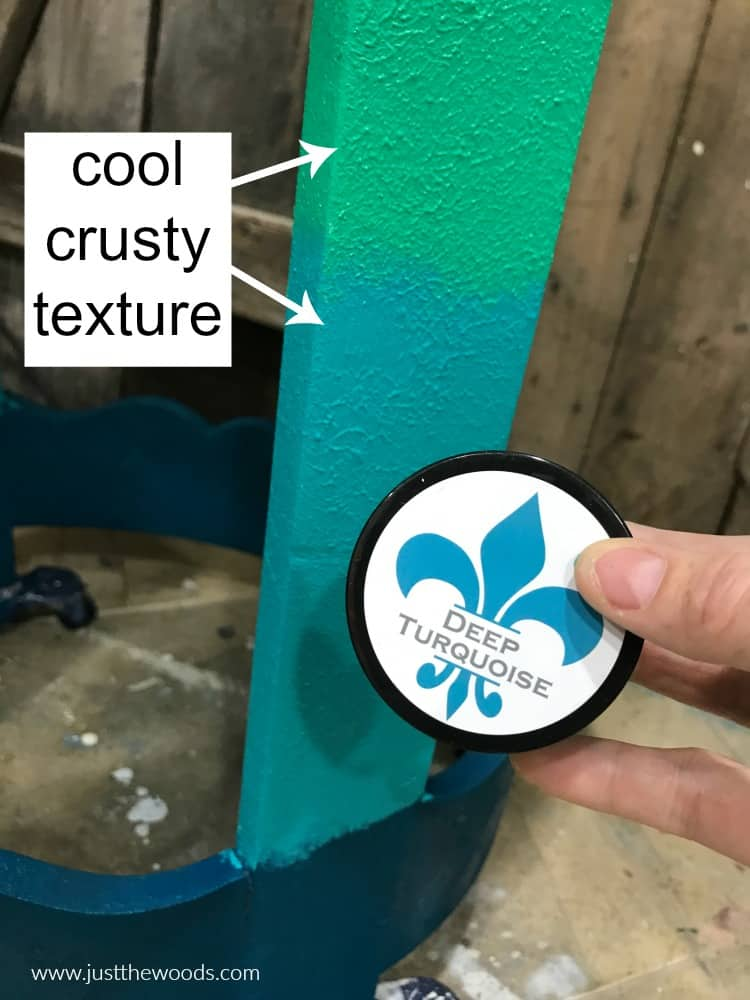 deep turquoise paint, crusty texture, weathered worn paint, vintage look paint