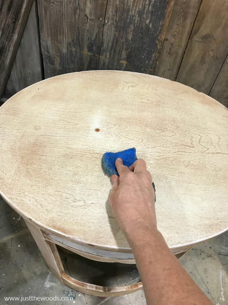 clean wood furniture with sponge before using chalk paint