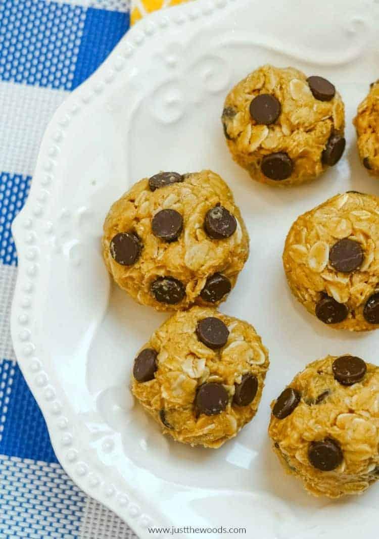 chocolate chip peanut butter oat balls, peanut butter energy bites