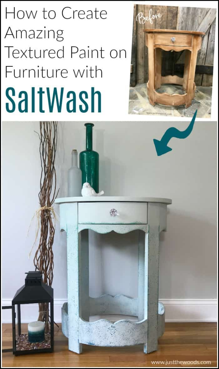 before and after painted furniture with salt wash