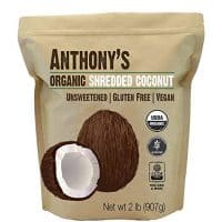 Anthony's Organic Shredded Coconut, 2lb, Unsweetened, Gluten Free, Non GMO, Vegan, Keto Friendly
