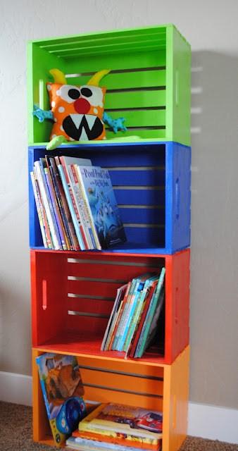 DIY Bookshelf Made From Crates