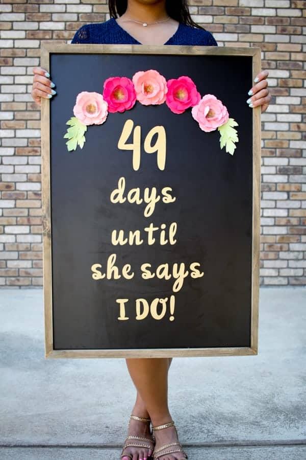 DIY Wedding Day Countdown Chalkboard Sign