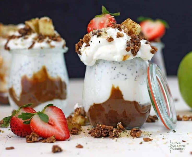 Simple Chia Caramel Chocolate Granola Parfait (high-protein, vegan, dairy-free)