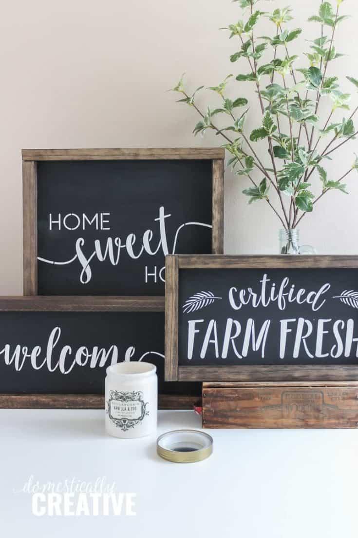 DIY Farmhouse Chalkboard Style Sign
