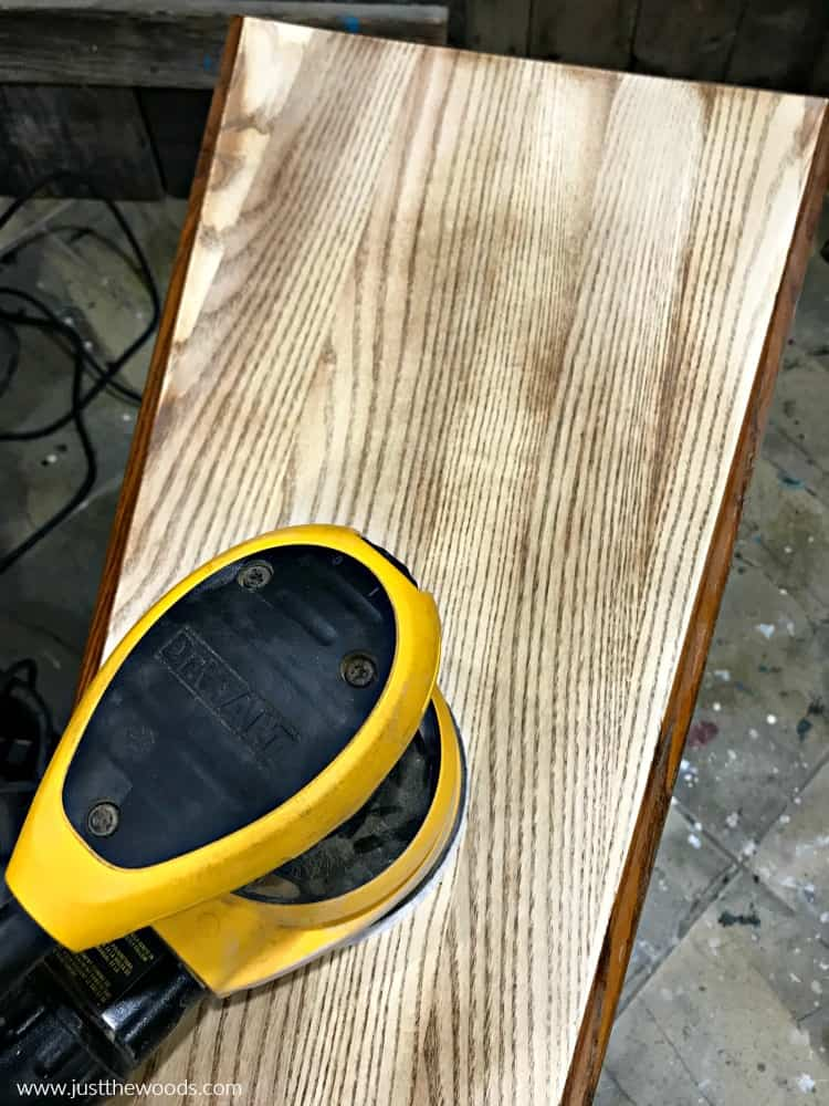 sanding wood furniture, how to stain wood, orbital sander on wood table
