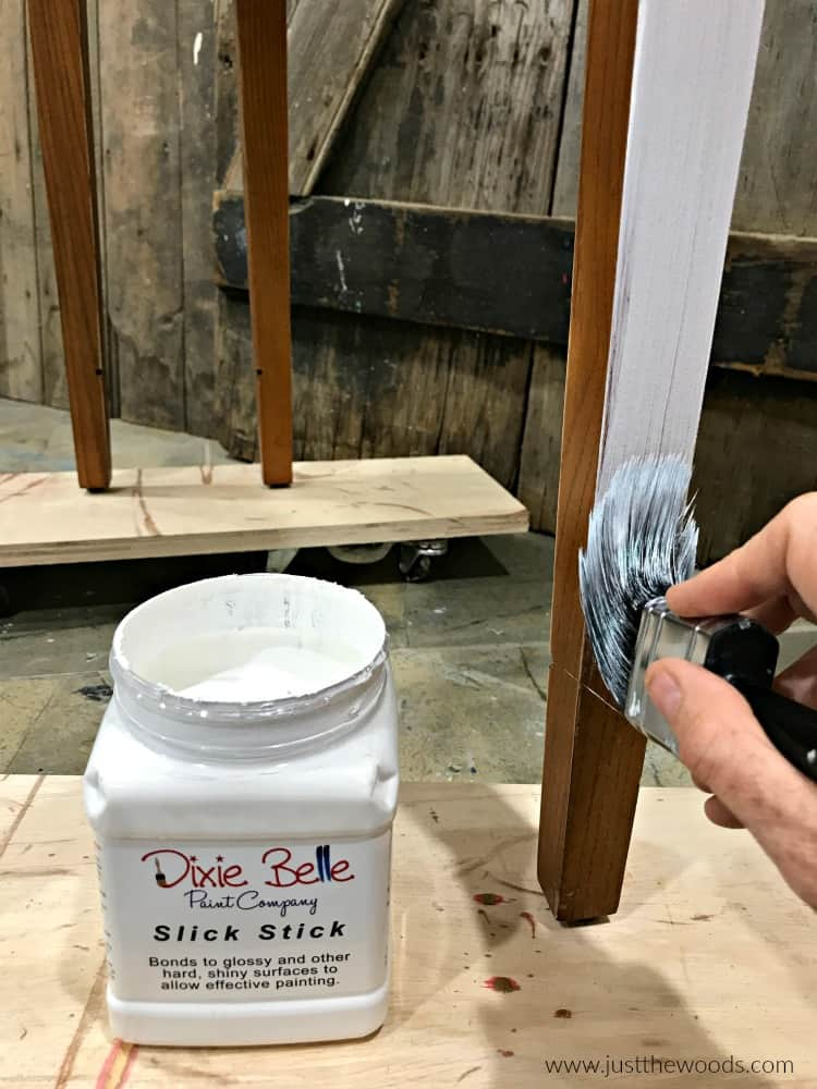 white primer on wood furniture, slick stick primer, dixie belle chalk paint