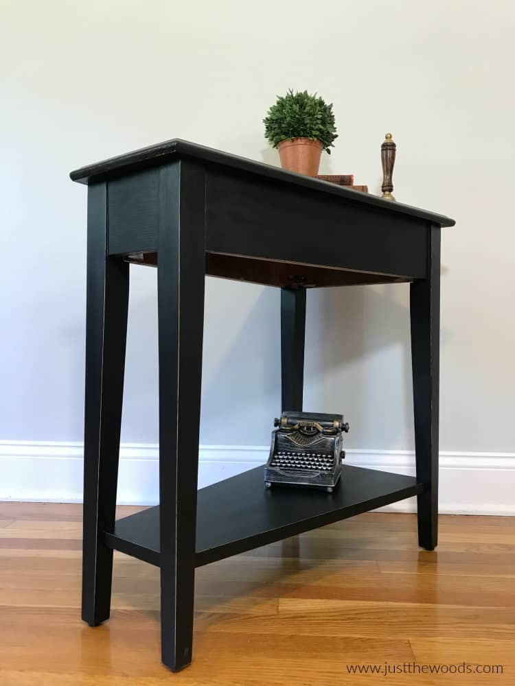 black painted furniture, black furniture paint on wood, distressed black furniture