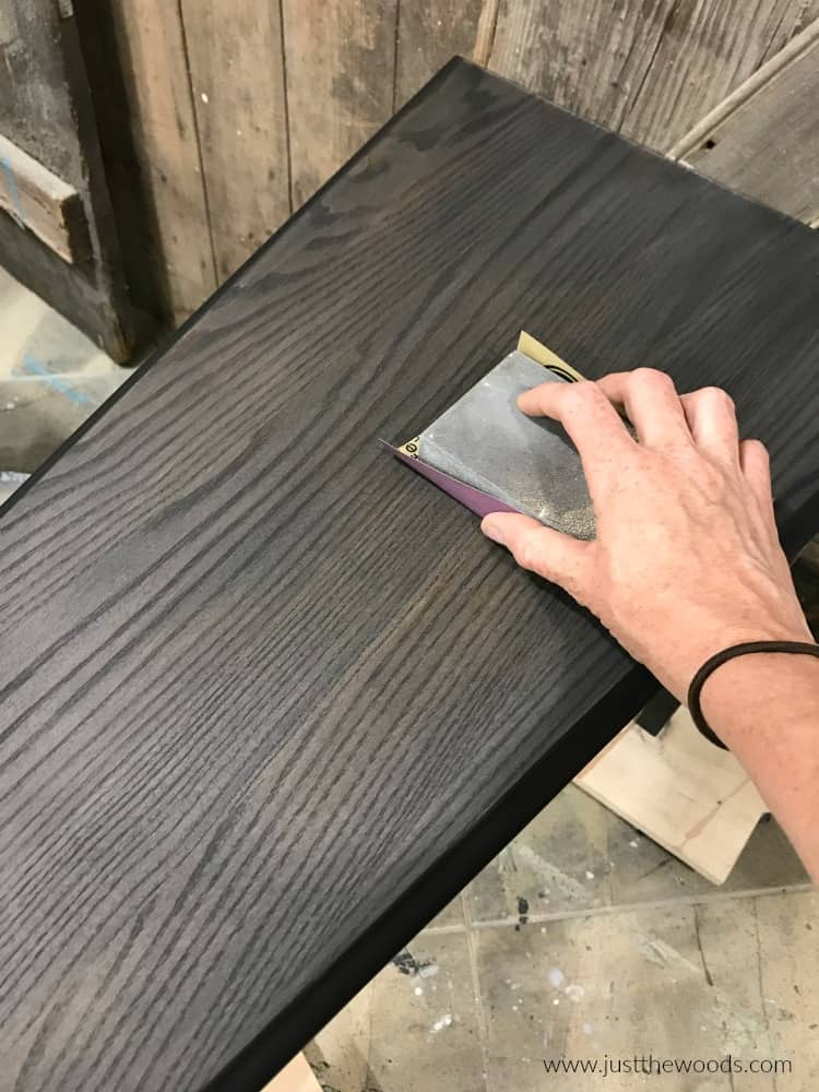 how to sand wood grain table with black stain for smooth finish