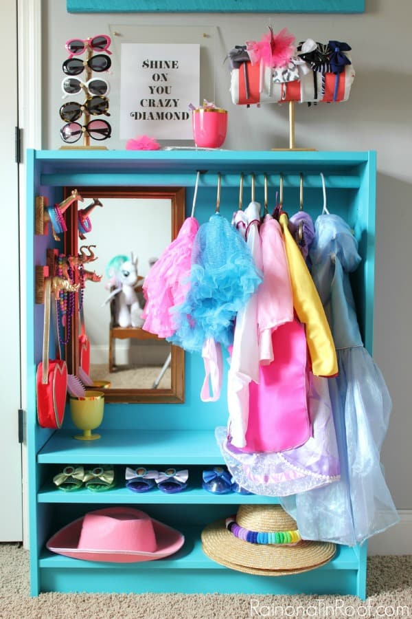 Dress Up Closet: Easy DIY Dress Up Storage from a Bookcase
