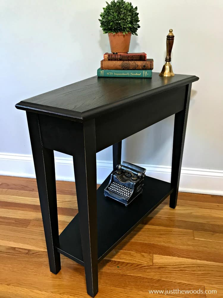 small black painted table, black paint and black stain on wood