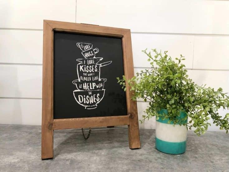 Easy DIY Farmhouse Kitchen Chalkboard Sign