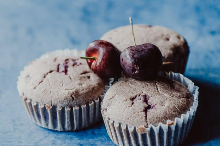 Gluten-Free Cherry Cobbler Muffins (Vegan, Oil-Free)