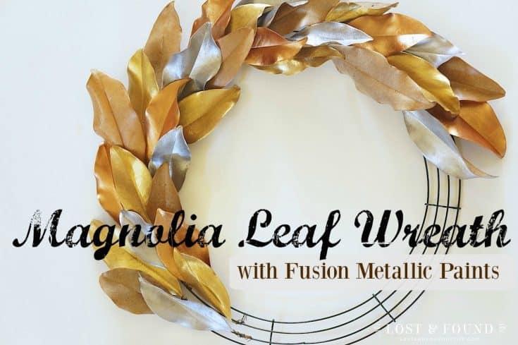 Painted Magnolia Leaf Wreath with Fusion Metallics