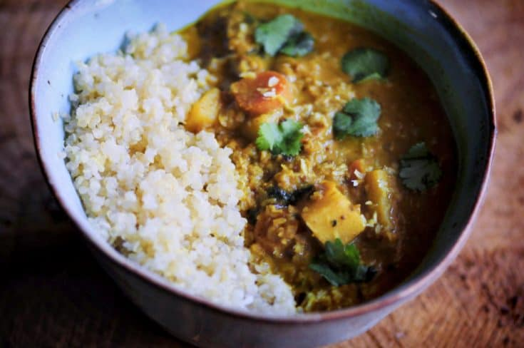 Sweet Potato and Cauliflower Rice Coconut Curry (Gluten-Free, Vegan)
