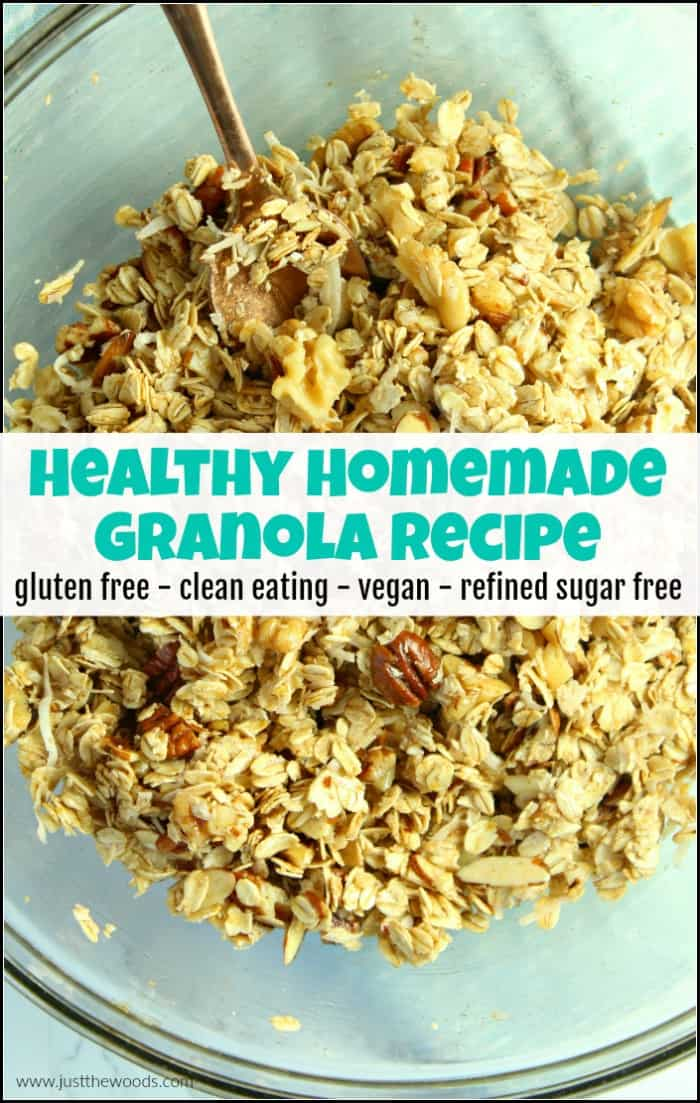 easy healthy homemade granola, gluten free granola recipe, vegan granola