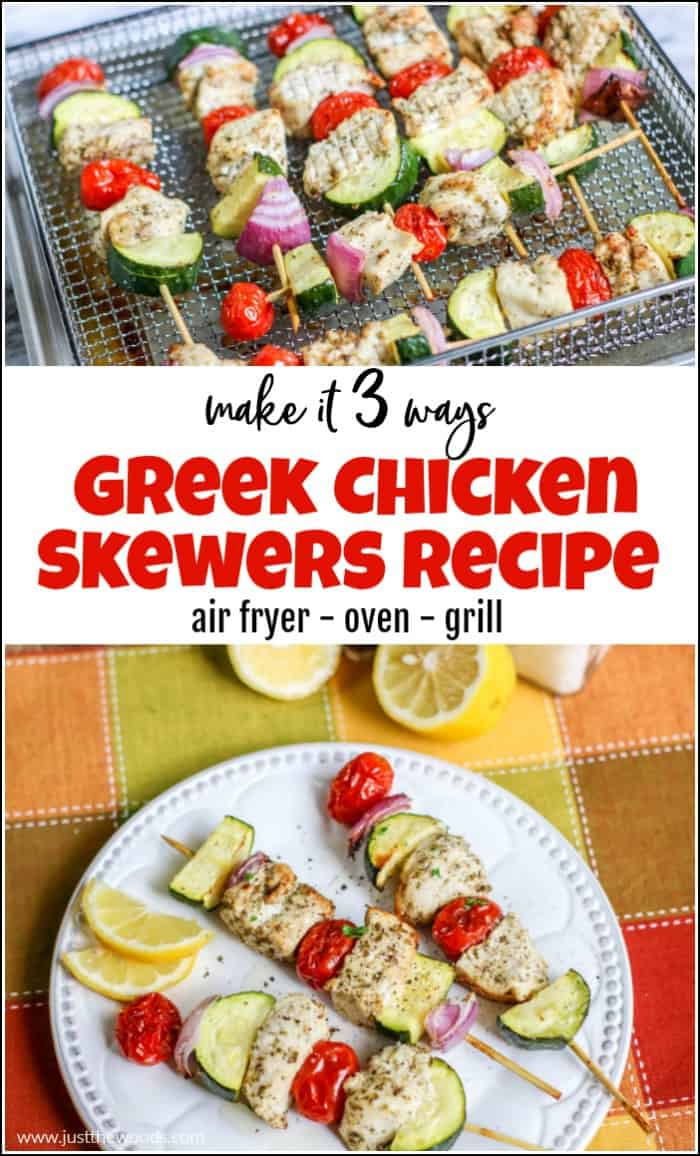greek chicken skewers recipe made 3 ways, oven, grilled, air fryer, ninja foodi