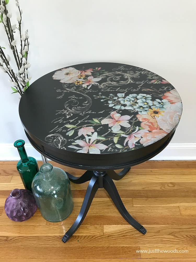 how to refinish a table with paint, metallic paint, painted pedestal table