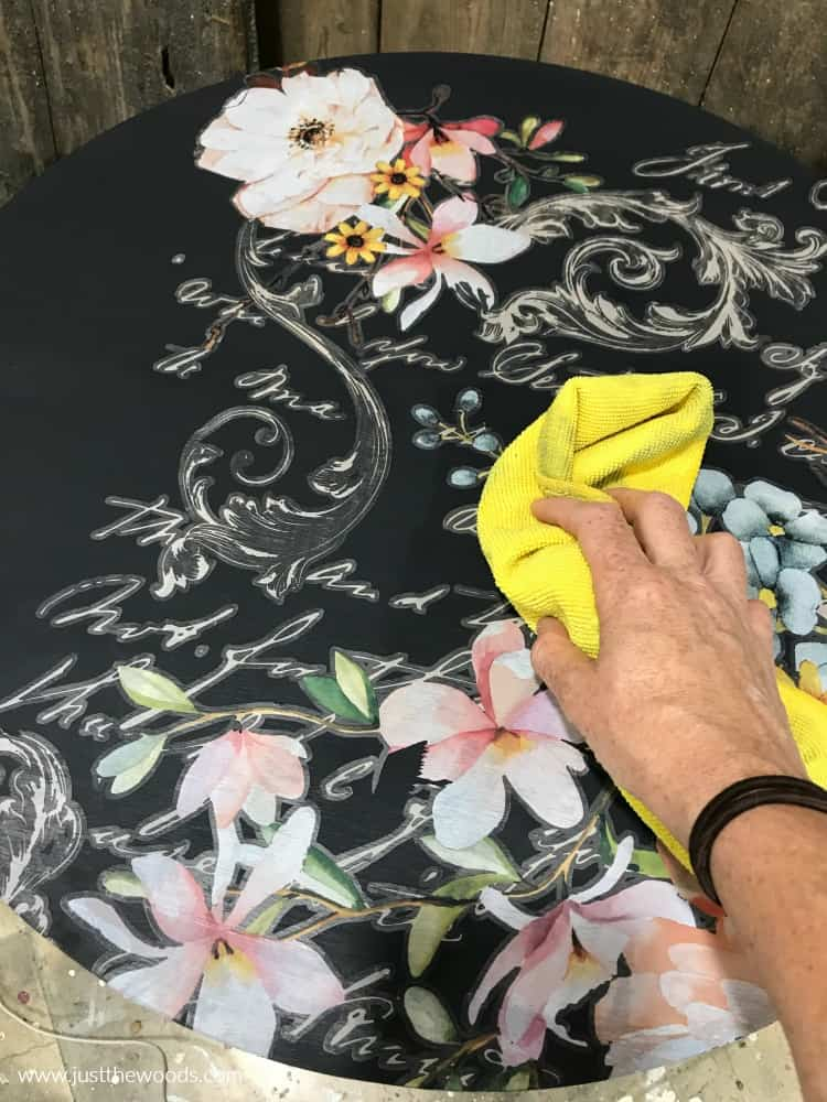 wipe image transfer refinish a table