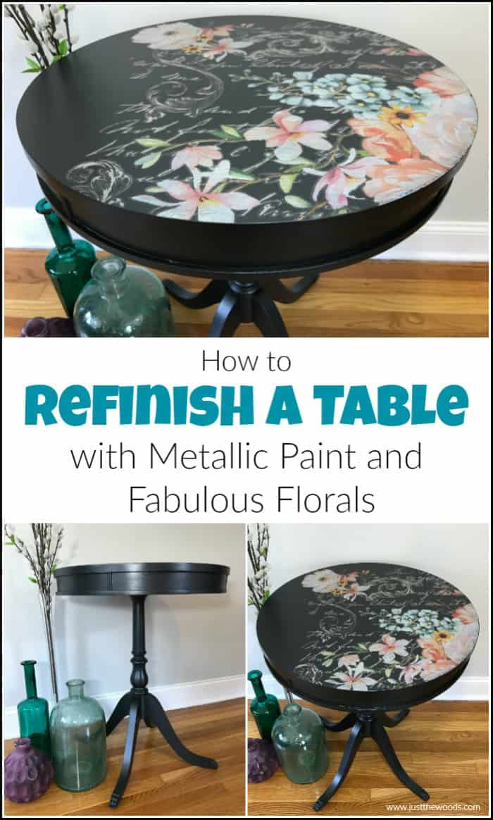 refinish a table with metallic paint, painted furniture