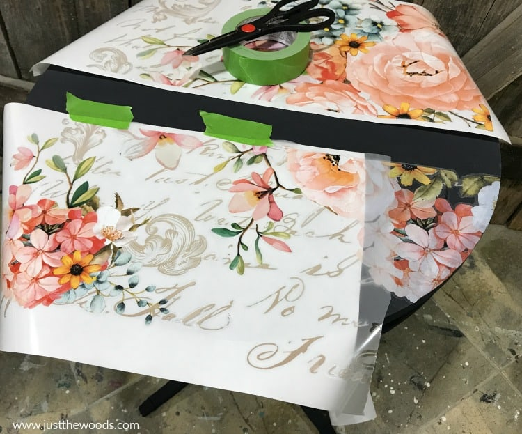floral image transfer on painted furniture
