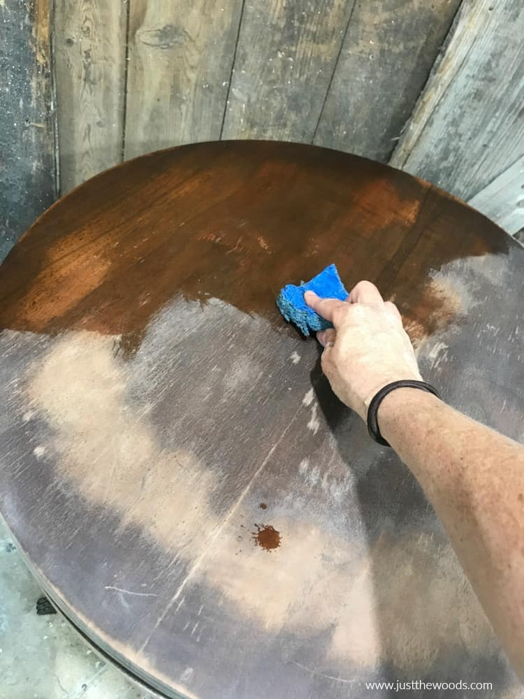 cleaning furniture, wood table, old table
