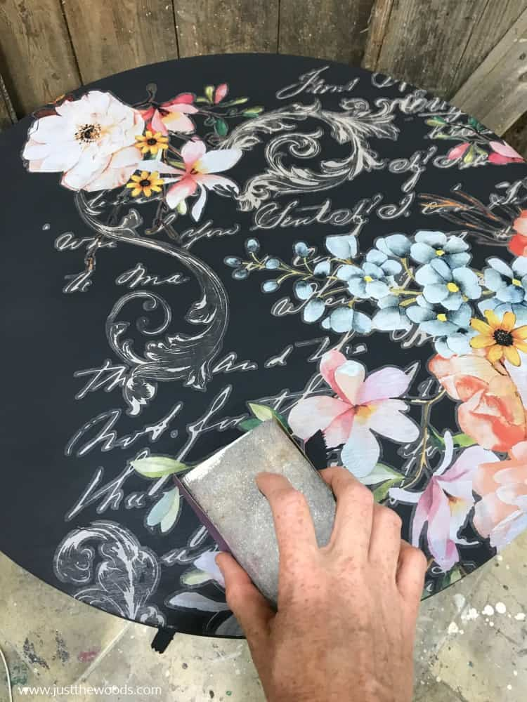 painted table with rose celebration transfer