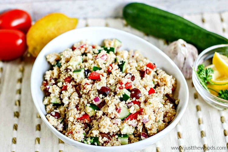 quinoa salad recipe, how to make quinoa salad, greek quinoa salad