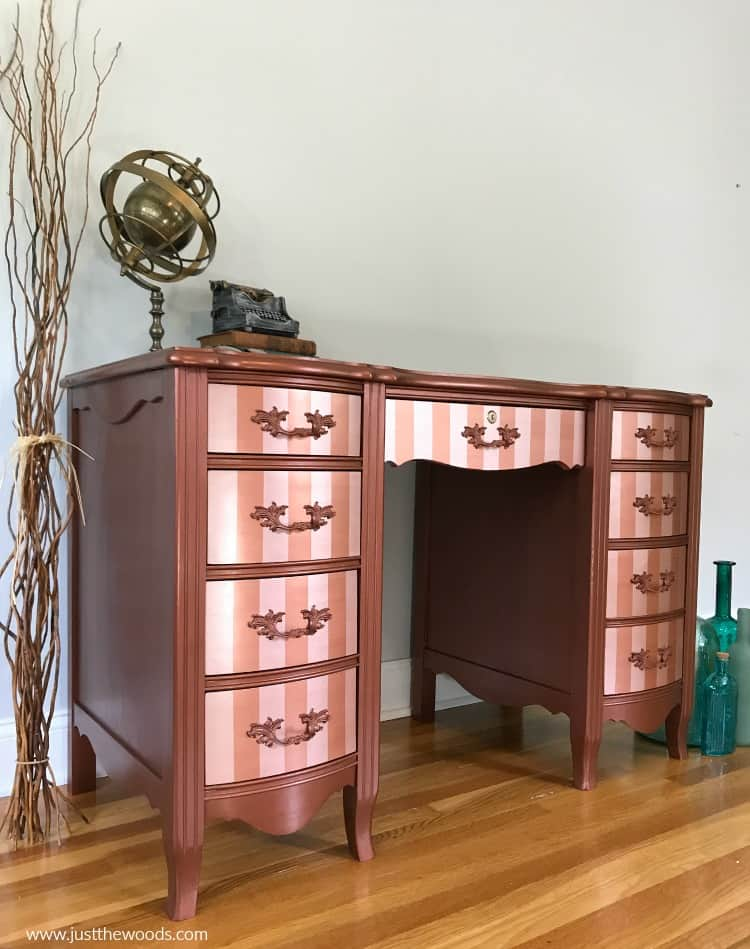 modern masters metallic paint, modern masters copper paint, metallic painted desk