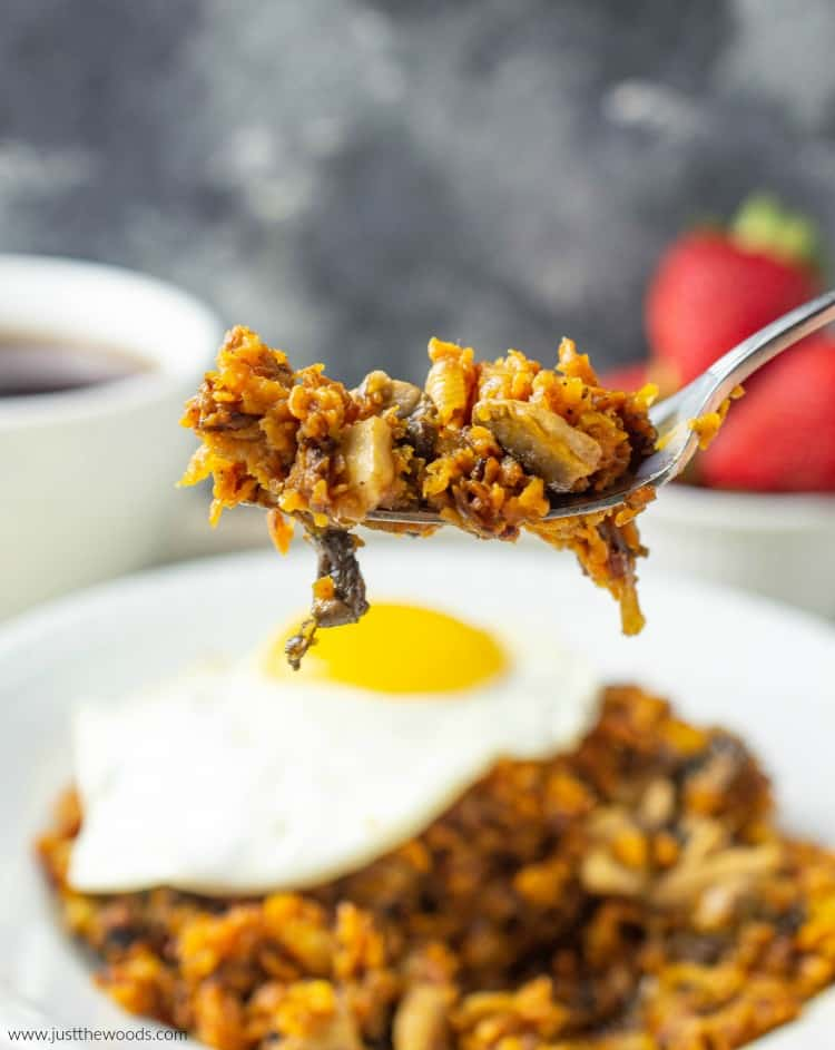 sweet potato hash on fork
