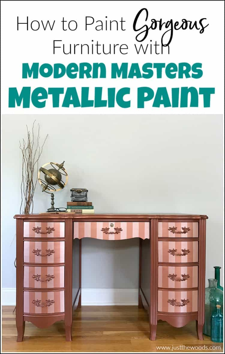 Modern Masters metallic paint adds a gorgeous shimmer to your painted furniture. See how to paint with metallic copper paint and rose gold metallic paint stripes.