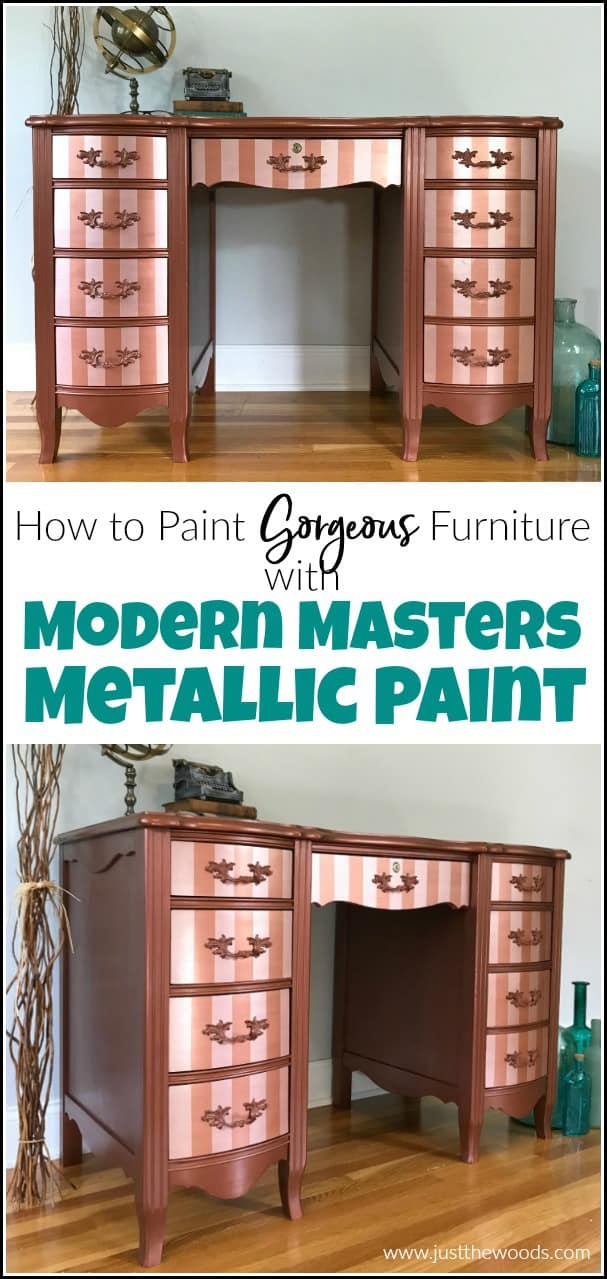 Modern Masters metallic paint adds a gorgeous shimmer to your painted furniture. See how to paint with metallic copper paint and rose gold metallic paint stripes. #modernmasters #modernmasterspaint #copperpaint #metalliccopperpaint #metalliccopperpaint #rosegoldpaint #paintedfurniture #painteddesk