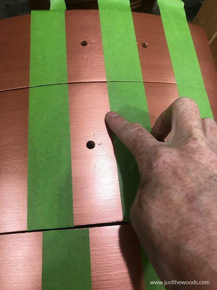 green painters tape, painting furniture stripes