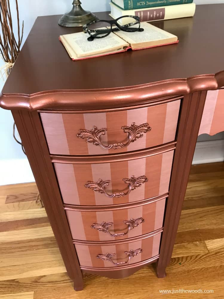 bronze metallic paint, shiny copper paint on furniture, painted furniture with metallic paint
