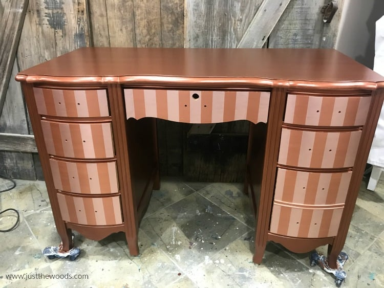 copper painted furniture, copper desk with stripe drawers