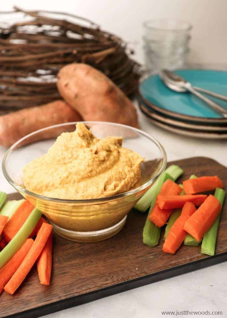 sweet potato and chickpea hummus, game day dip