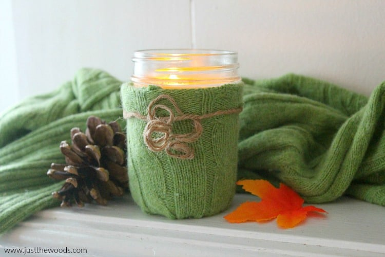 candle holder DIY old green sweater