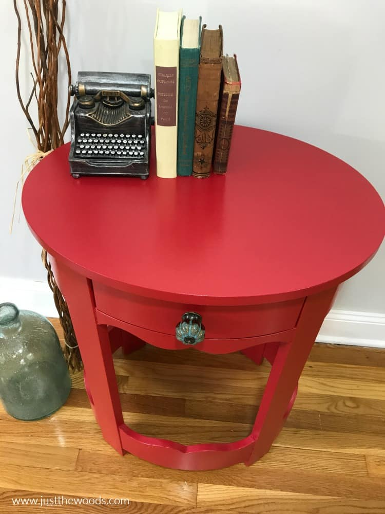 bright red painted furniture, painting furniture red, wise owl red paint
