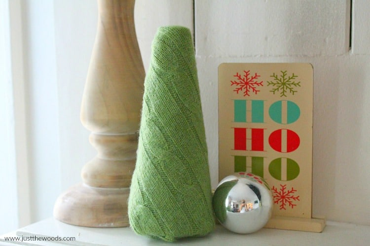 upcycled sweater, make diy christmas decorations with old sweaters,